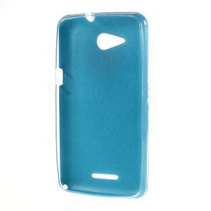 Gélový obal na Sony Xperia E4g s koženkovým chrbtom - modrý - 2