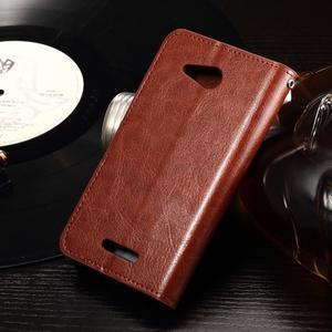 Horse PU kožené puzdro pre mobil Sony Xperia E4g - hnedé - 2