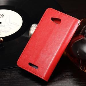 Horse PU kožené puzdro pre mobil Sony Xperia E4g - červené - 2