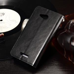Horse PU kožené pouzdro na mobil Sony Xperia E4g - černé - 2