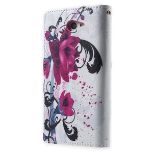 Standy peněženkové pouzdro Sony Xperia M2 Aqua - fialové květy - 2