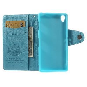 Tyrkysové Peňaženkové puzdro pre Sony Xperia Z3 - 2