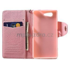 Růžové peněženkové pouzdro na Sony Xperia Z3 Compact - 2