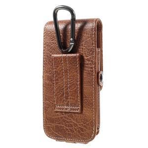 Cestovní PU kožené peněženkové pouzdro do rozměru 150 x 73 x 15 mm - hnědé - 2