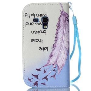 Knížkové PU kožené puzdro pre Samsung Galaxy S3 mini - vtáčiky - 2