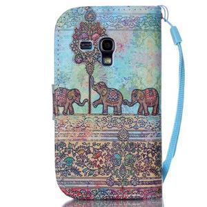 Knížkové PU kožené puzdro pre Samsung Galaxy S3 mini - slony - 2