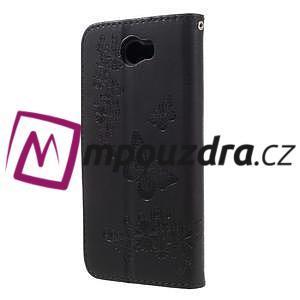 Butterfly PU kožené puzdro na mobil Huawei Y5 II - čierne - 2