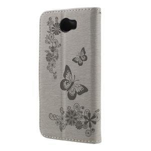 Butterfly PU kožené puzdro na mobil Huawei Y5 II - šedé - 2