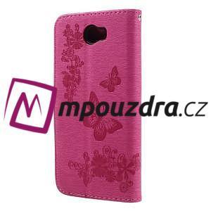 Butterfly PU kožené puzdro na mobil Huawei Y5 II - rose - 2