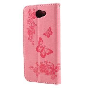 Butterfly PU kožené puzdro na mobil Huawei Y5 II - růžové - 2