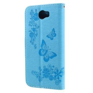 Butterfly PU kožené puzdro na mobil Huawei Y5 II - světlemodré - 2