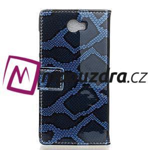 Pouzdro s hadím motivem na mobil Huawei Y5 II - modré - 2