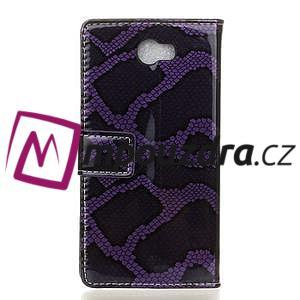 Pouzdro s hadím motivem na mobil Huawei Y5 II - fialové - 2