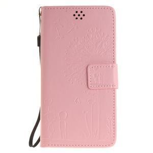 Dandelion PU kožené puzdro na Huawei Y5 II - růžové - 2