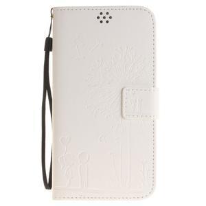 Dandelion PU kožené puzdro na Huawei Y6 II a Honor 5A - bílé - 2