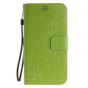 Dandelion PU kožené puzdro na Huawei Y6 II a Honor 5A - zelené - 2