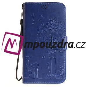 Dandelion PU kožené puzdro pre Huawei Y6 II a Honor 5A - modré - 2