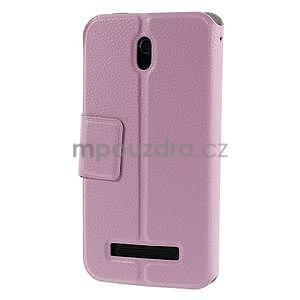 Flipové kožené puzdro na HTC Desire 500 - růžové - 2
