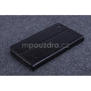 Čierné kožené peňaženkové puzdro na Huawei Ascend G620s - 2