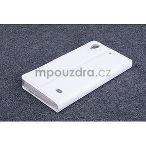 Bílé kožené peňaženkové puzdro na Huawei Ascend G620s - 2