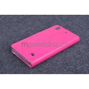 Růžové kožené peňaženkové puzdro na Huawei Ascend G620s - 2