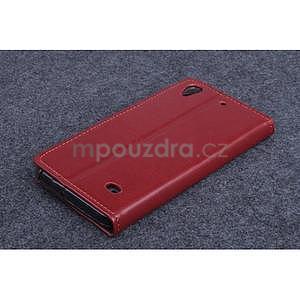 hnedé kožené peňaženkové puzdro na Huawei Ascend G620s - 2