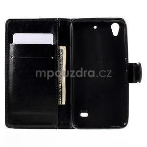Peňaženkové puzdro na Huawei Ascend G620s - čierné - 2