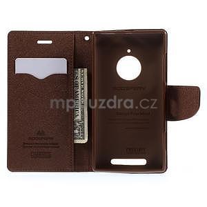 Kožené peňaženkové puzdro na Nokia Lumia 830 - čierné/hnedé - 2