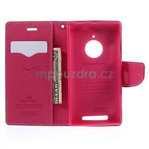 Kožené peňaženkové puzdro na Nokia Lumia 830 - růžové - 2
