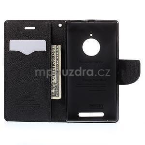 Kožené peňaženkové puzdro na Nokia Lumia 830 - čierné - 2