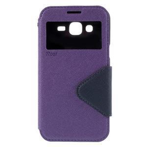 PU kožené puzdro s okienkom pro Samsung Galaxy J5 - fialové - 2