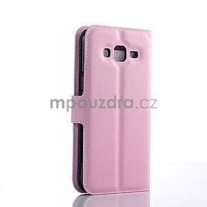 Růžové zapínací peněženkové pouzdro na Samsung Galaxy J5 - 2