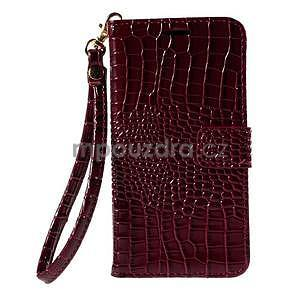 PU kožené puzdro s imitací krokodýlí kože Samsung Galaxy J5 - tmavo červené - 2