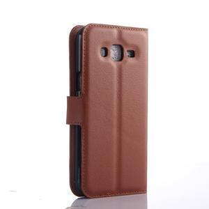 Hnědé zapínací peněženkové pouzdro na Samsung Galaxy J5 - 2