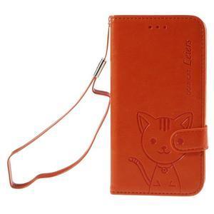 Peňaženkové puzdro s kočičkou Domi pre Samsung Galaxy J5 - oranžové - 2