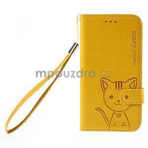 Peněženkové pouzdro s kočičkou Domi na Samsung Galaxy J5 - žluté - 2