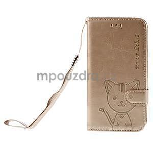 Peňaženkové puzdro s kočičkou Domi pre Samsung Galaxy J5 - champagne - 2