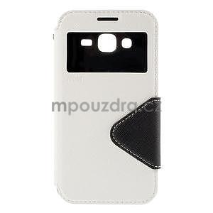 PU kožené puzdro s okienkom pro Samsung Galaxy J5 - biele - 2