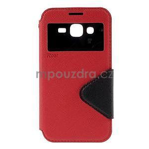 PU kožené pouzdro s okýnkem pro Samsung Galaxy J5 - červené - 2