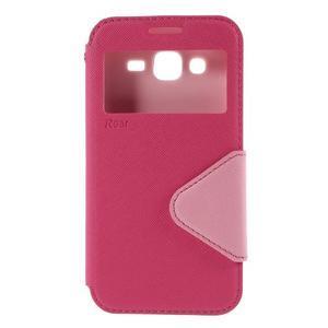 PU kožené pouzdro s okýnkem pro Samsung Galaxy J5 - rose - 2