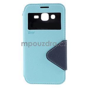 PU kožené pouzdro s okýnkem pro Samsung Galaxy J5 - světle modré - 2