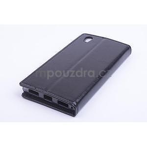 Peňaženkové kožené puzdro na Lenovo P70 - čierné - 2
