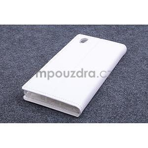 Peňaženkové kožené puzdro na Lenovo P70 - biele - 2
