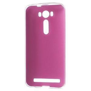 Gélový obal s jemným koženkovým plátem na Asus Zenfone 2 Laser ZE500KL  - růžový - 2