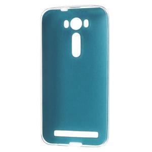 Gélový obal s jemným koženkovým plátem pre Asus Zenfone 2 Laser ZE500KL - modrý - 2