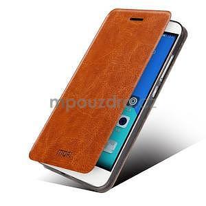 Koženkové puzdro na mobil Honor 7 - hnedé - 2