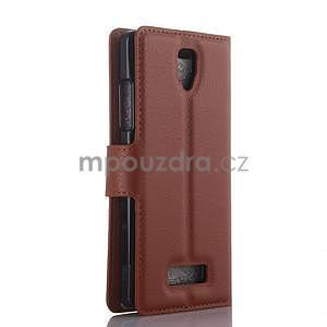 Peňaženkové puzdro pre mobil Lenovo A2010 - hnedé - 2