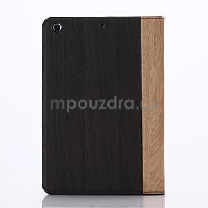 Koženkové puzdro s imitáciou dreva na iPad Mini 3, iPad Mini 2, iPad mini - tmavošedé - 2