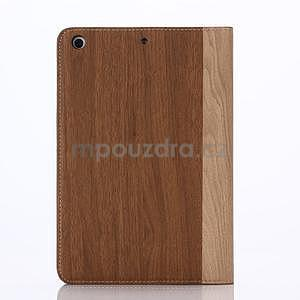 Koženkové puzdro s imitáciou dreva na iPad Mini 3, iPad Mini 2, iPad mini - hnedé - 2