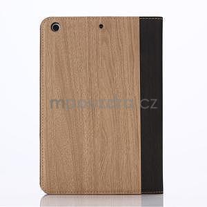 Koženkové puzdro s imitáciou dreva na iPad Mini 3, iPad Mini 2, iPad mini - svetlohnedé - 2